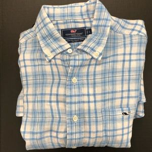 White/Blue LINEN Tucker Shirt L/S Whale LOGO Airy